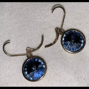 Jewelry - Silver toned and blue crystal earrings